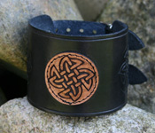 Leather Wristband with Celtic Knot