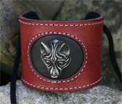 Leather Wristband with Viking Wolf Fenrir