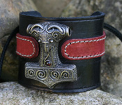 Leather Wristband with Scania Thor's Hammer