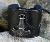 Leather Wristband with Thor's Hammer