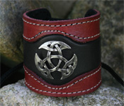 Leather Wristband with Open Triad