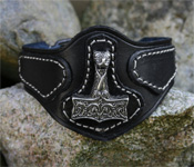Leather Wristband with Oseberg Thor's Hammer