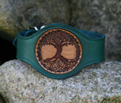 Leather Wristband with Tree of Life