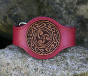 Leather Wristband with Triskele