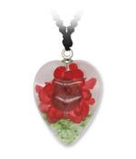 Red Flower Heart Pendant