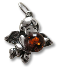 Angel pendant with amber